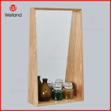 Oak Grain Decrative Wall Mounted Mirror with Wooden Shelf