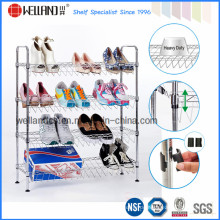 Salants 4 Tiers Verstellbarer Chrom Metall Schuh Rack (CJ-B1112)