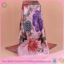 High quality customized hand-rolled edges satin scarf malaysia