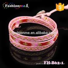small MOQ pink handmade custom wrap bracelet
