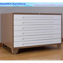 Cabinet de fichier de carte de bureau en acier plein choisissent la taille A0-A1 pour dessiner le coffret de carte de stockage de dossier