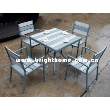 Пластмассовая деревянная мебель-обеденный стул и стол (BP-390)