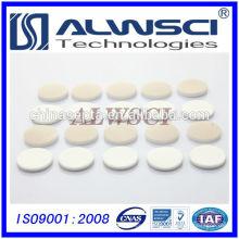 Fabricación 22mm PTFE natural / Blanco Septa de silicona, 3mm de espesor