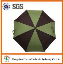 Professional OEM Fabrik liefern 2 Falten Regenschirm mit schwarz beschichteten Metallrahmen mit krummen behandeln