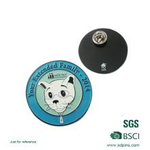 Épinglette adaptée aux besoins du client de revers de logo d'animal familier d'émail avec le site Web de laser