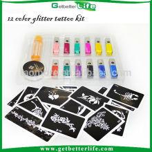 12 falsa cor brilho glitter tatuagens tatuagens temporárias de Glitter
