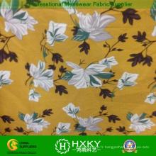 Tissu d'impression floral de couleur jaune pour les vêtements supérieurs