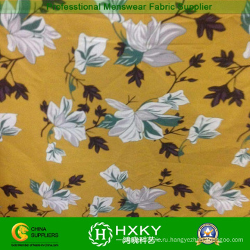 Желтый цвет Цветочный печать ткань для верхней одежды