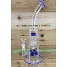 Wholesale High Quality Handblown USA Colored Glass Water Pipe Smoking Pipe with 4 Tyre Perc and Tree Perc