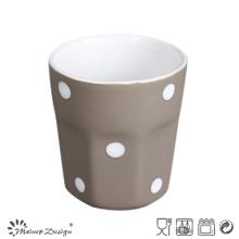 Taza de cerámica de 3 oz Interior blanco exterior gris con diseño de puntos