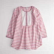 Camisa de verano transpirable de manga larga a rayas linda para niña