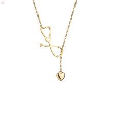 Declaração de ouro de aço inoxidável camisola Lariat estetoscópio Colar