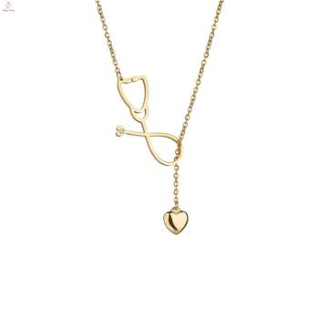 Gold Statement Edelstahl Pullover Lariat Stethoskop Halskette