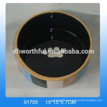 El plato de cerámica barato al por mayor del animal doméstico se coloca en alta calidad