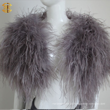 Pêra De Penas De Pêlo De Penas De Pêlo De Pêlo De Moda De Avestruz De Moda Echarpe De Cabo De Pele Real Feaher Para Mulheres