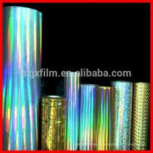Filme holográfico contínuo / filme holográfico PET de BOPP / filme holográfico para laminação de papelão