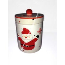 Keramik Hand Paintedsnowman Jar