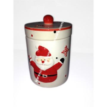 Ceramic Hand Paintedsnowman Jar