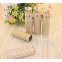 al por mayor lápiz de madera natural de 6 colores con sacapuntas