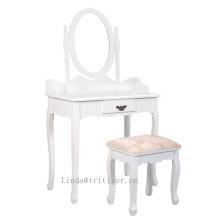 Дешевый гладкий деревянный туалетный столик с зеркалом для макияжа и набор стульев с ящиками, белый