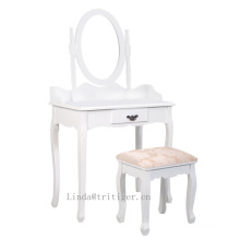 Table et tabouret de coiffeuse de miroir de maquillage MakeUp Wood Sleek pas cher avec tiroirs, blanc