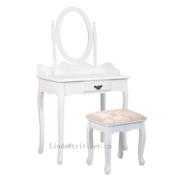 Cheap Sleek Wood MakeUp Mirror Vanity Dresser Table and Stool Set With drawers, White