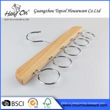 Одежда Оптовая металлический крючок естественной древесины вешалка