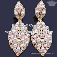 Crystal Pearl Earrings In Leaf Shaped With Gold Plated