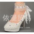 De alta calidad puntiaguda toes de encaje de perlas mujeres zapatos de boda con cintas de encaje hasta damas partido / vestido tamaño zapatos EU35-42 WS01