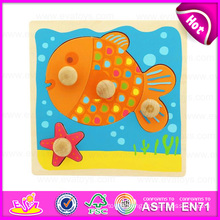 2015 Promotion Popular Wooden Jigsaw Puzzles for Kids, Lovely Fish Design Wooden Jigsaw Puzzle, DIY Jigsaw Puzzle Game Toy W14m061