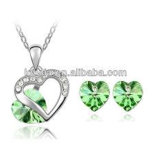 Charm verde cristal jóias com diamantes bridal moda jóias set