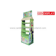 Professional Cardboard Floor Display Stands With 4 Trays
