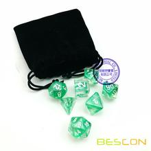 Bescon Nebula Polyhedral 7-Die Set Crystal Nebulous Green Dice Set