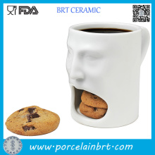 White Face Shape Ceramic Cookie Mug