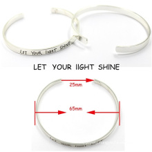 Fashion Customerized Engrave Messages Sterling Silver Bracelet Bangle