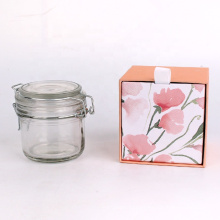 Airtight round clear glass storage jars with clip lids 180ml