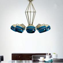 Creative New 6/8 head Hanging Chandelier Light Blue Color  Pendant lamp