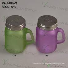Farbe Nin S / P Deckel Mini Jar Clear mit Griff Glas Mason Gläser zum Verkauf