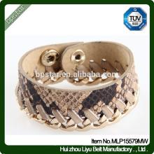 Bracelet PU Girls Bracelet Golden Metal Chain Snakeskin Fashion pour femme