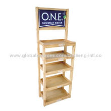 Beverage Display Stand Wooden Rack with 4 Adjustable Feet and 5 ShelvesNew