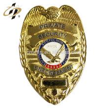 Insignia en blanco de encargo al por mayor del oficial de seguridad de las letras del metal del metal para las ventas