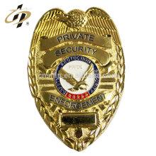 Insigne de l'agent de sécurité en gros de lettrage en laiton en métal fait sur commande en ventes