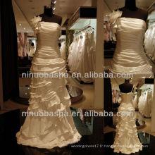 Q-6258 Ruches Bodice Robe de mariée Layer Skirt Robe de mariée en taffetas