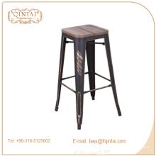 Китайская промышленная металлическая деревянная барная табуретка с подножками