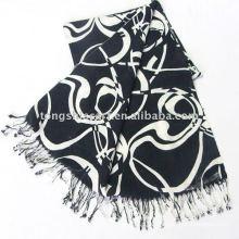 Шарф шаль/классический черный и белый шарф