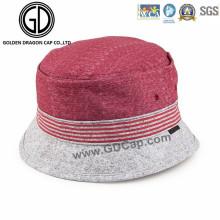 Sombrero fresco simple del cubo del pescador rosado y gris de encargo de la calidad