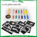 2015 getbetterlife paillettes tatouage ensemble, tatouage temporaire, approvisionnement en pochoir Body Art condensation liquide kit 12 couleurs