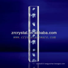 K9 3D Laser Maple Leaf Etched Crystal with Pillar Shape