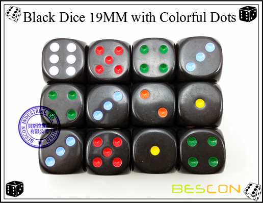 Black Dice 19MM with Colorful Dots