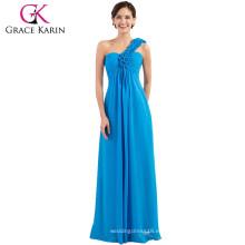 La dama de honor azul larga de la gasa de Karin de la venta uno de la gasa caliente de la flor viste CL3402-4 #